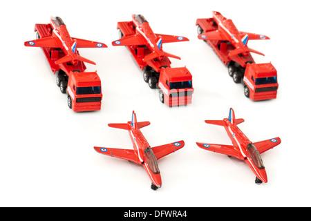 Matchbox (1991) diecast model replicas of the BAe Hawk Trainer Mk1 aeroplane on transporters - Stock Photo