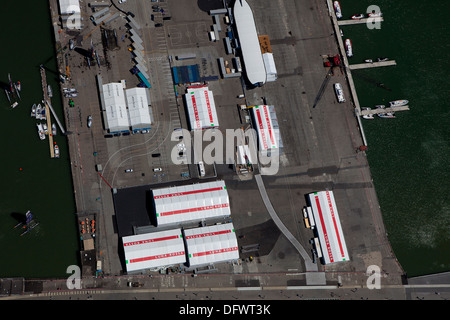 aerial photograph Luna Rossa America's Cup staging area Pier 30-32 San Francisco California - Stock Photo