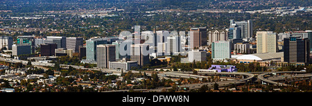 aerial photograph San Jose skyline, Santa Clara county, California - Stock Photo