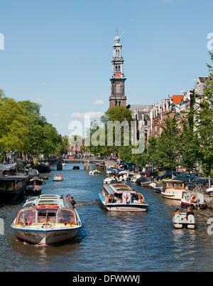 Prinsengracht  Westerkerk  Canal House Boat Amsterdam NetherlandsAmsterdam Netherlands - Stock Photo