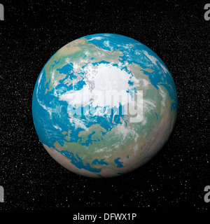 3D rendering of planet Earth centered on the North Pole, starry background. - Stock Photo