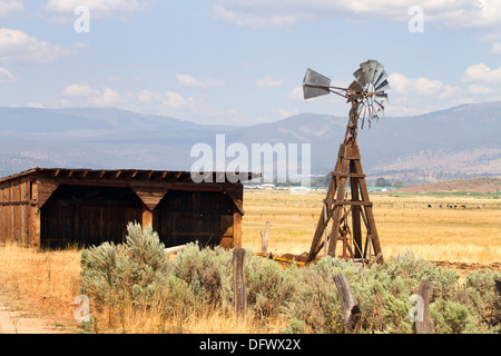Old wind driven water pumping windmill stands next to an empty storage shed on a cattle ranch in a California mountain - Stock Photo