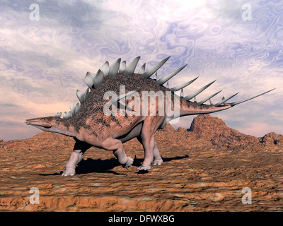 Kentrosaurus dinosaur walking in the desert. - Stock Photo