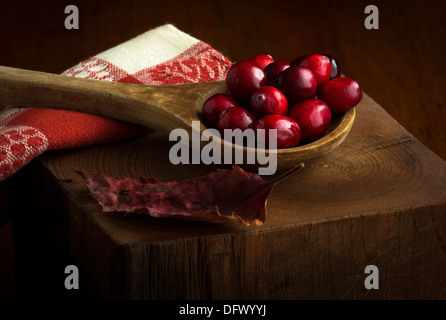 Cranberries in wooden spoon in fall or autumn theme - Stock Photo