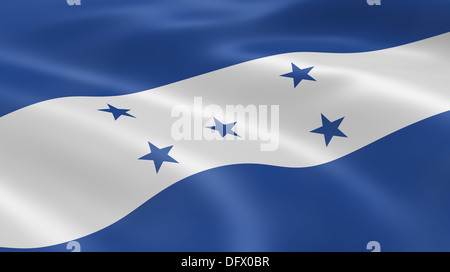Honduran flag in the wind. Part of a series. - Stock Photo