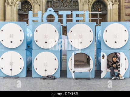 Montreal, QC, Canada. 9th October 2013.  A ''hotel'' featuring tiny cubicles each fitted with a mattress and pillow - Stock Photo
