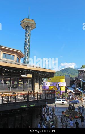 The Gatlinburg Space Needle and skyline of downtown Gatlinburg, Tennessee - Stock Photo