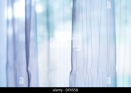 Transparent curtain on window. Curtain background - Stock Photo