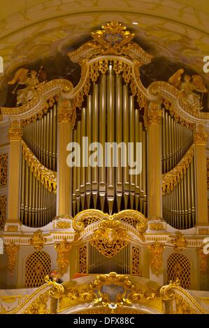 The organ by Kern in the Frauenkirche church, Dresden, Saxony, Germany - Stock Photo
