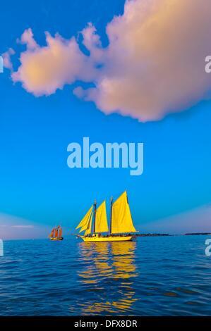The schooner Western Union at sunset, off Key West, Florida Keys, Florida USA - Stock Photo