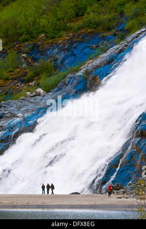 Nugget Falls flowing into Mendenhall Lake next to Mendenhall Glacier, Juneau, southeast Alaska USA - Stock Photo