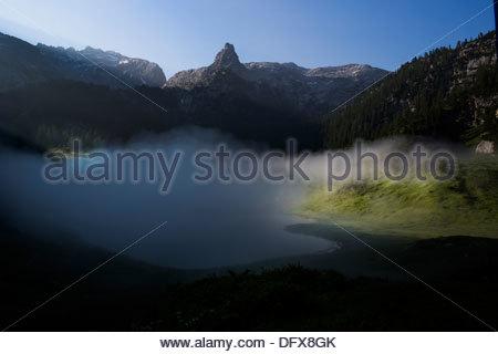 Lake with mountain range in the background, Funtensee, Schottmalhorn, Berchtesgaden National Park, Bavaria, Germany - Stock Photo