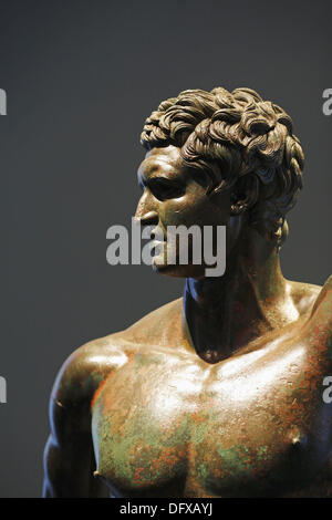 The bronze statue of a Hellenistic prince , Palazzo Massimo alle Terme, National Museum of Rome, Italy - Stock Photo