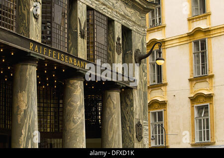 Loos house, Michaelerplatz, art nouveau, access front with columns, house in baroque style, Vienna, Austria - Stock Photo
