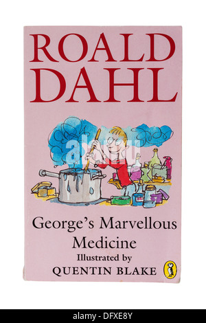 A Roald Dahl childrens book called George's Marvellous Medicine on a white background - Stock Photo