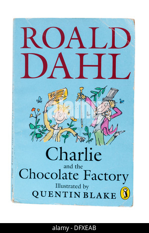 A Roald Dahl childrens book called Charlie and the Chocolate Factory on a white background - Stock Photo