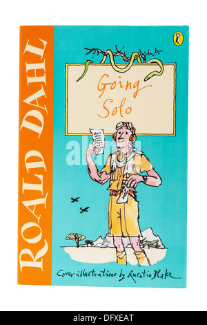 A Roald Dahl childrens book called Going Solo on a white background - Stock Photo