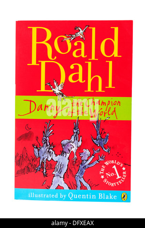 A Roald Dahl childrens book called Danny the champion of the world on a white background - Stock Photo