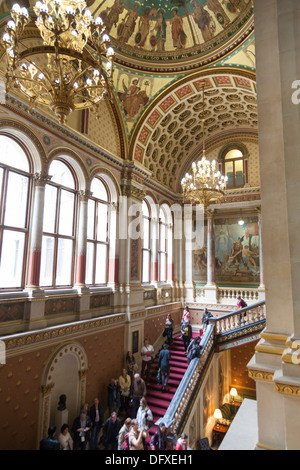 The Grand Staircase with its Sigismund Goetze murals in the Foreign and Commonwealth Office, Whitehall, London. - Stock Photo