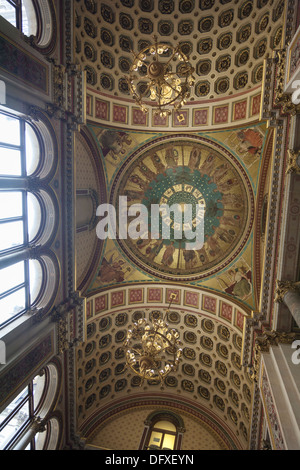 Ornate ceiling decoration above the Grand Staircase in the Foreign and Commonwealth Office, Whitehall, London. - Stock Photo