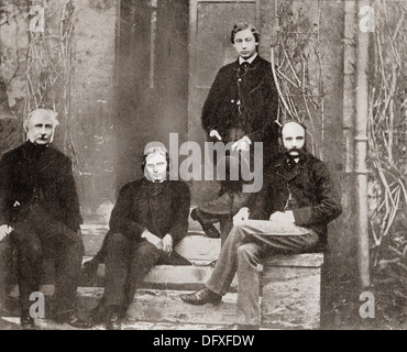 Albert Edward, Prince of Wales, future King Edward VII and his tutors from Oxford, - Stock Photo