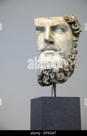 The marble portrait of the emperor Lucius Verus from Roman Flavian period display in the exhibition hall of Greek - Stock Photo
