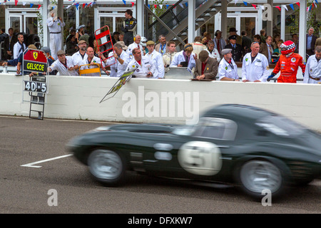 1963 Jaguar E-Type lightweight 'Lowdrag' passes the pits during the 2013 Goodwood Revival, Sussex, UK. RAC TT Celebration - Stock Photo