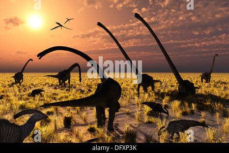 Duckbill & Sauropod Dinosaurs Feeding Together.2. - Stock Photo