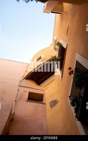 Via Del Fossario Architecture in Castello Area of Cagliari in Sardinia - Stock Photo