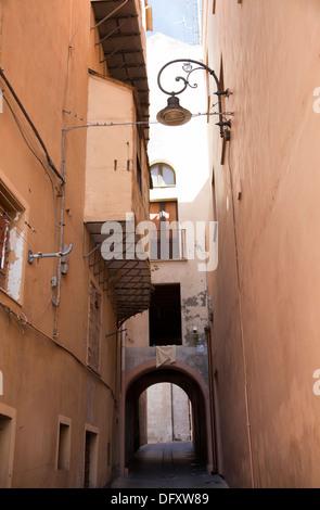 Via Del Fossario in Castello Area of Cagliari in Sardinia - Stock Photo