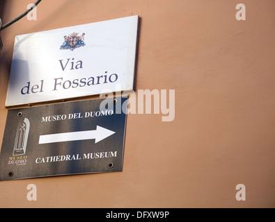 Via Del Fossario Sign in Castello Area of Cagliari in Sardinia - Stock Photo