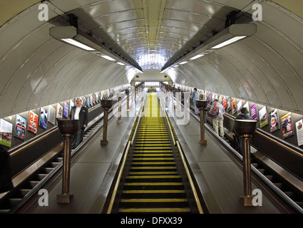 The main escalator shaft at St John's Wood Underground station in North London, UK - Stock Photo