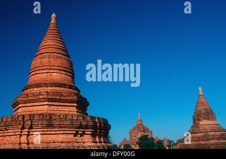 Temples of Bagan in the Evening Light - Stock Photo