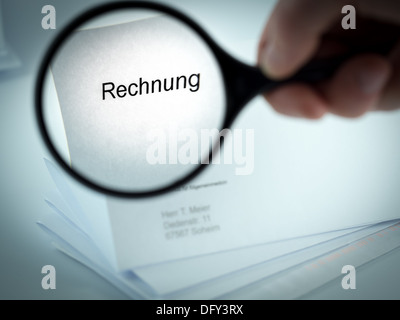 Cover letter with the word Rechnung in the letterhead - Stock Photo