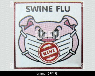 Illustration on Swine flu in newspaper - Stock Photo