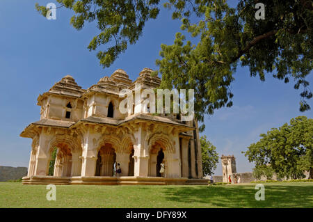 The two storeyed Lotus Mahal with recessed archways is one of the major attractions in the World Heritage Site of - Stock Photo