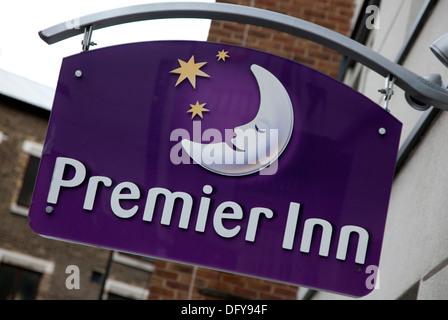 Sign on a Premier Inn hotel in London - Stock Photo
