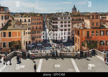 View down from the Spanish steps, Scalinata della Trinita dei Monti, to Piazza di Spagna, Rome, Lazio, Italy, Europe - Stock Photo