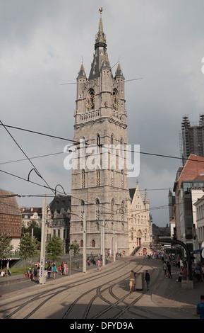 The Belfry and Cloth Hall (Belfort & Lakenhalle) in historic Ghent (Gent), East Flanders, Belgium. - Stock Photo