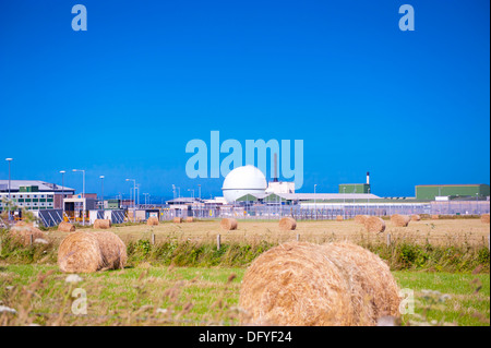 Dounreay nuclear power plant and haystacks - Stock Photo