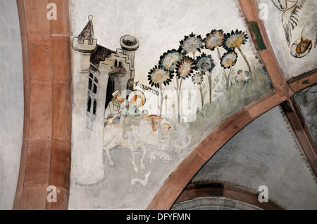 Basel / Basle, Switzerland. Basler Munster (Cathedral) Late Romanesque frescoes in the Crypt. St Martin - Stock Photo