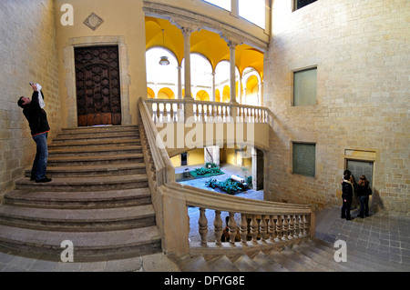 Barcelona, Spain. Palau del Lloctinent. (Antoni Carbonell - 1549-57) Staircase in Courtyard - Stock Photo