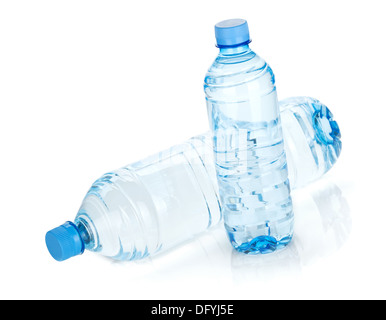 Two water bottles. Isolated on white background - Stock Photo