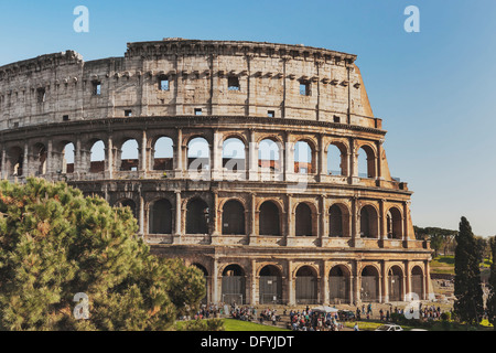 The Colosseum is the largest amphitheater built in ancient Rome from 72 to 80 AD, Rome, Lazio, Italy, Europe - Stock Photo