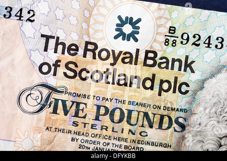 Close up of a Scottish five pound sterling note issued by the Royal Bank of Scotland - Stock Photo
