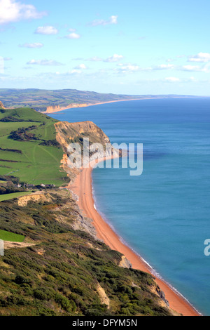 The view of Jurassic Coast from Golden Cap, eastwards towards Seatown, Eype and Bridport, West Dorset, England. - Stock Photo