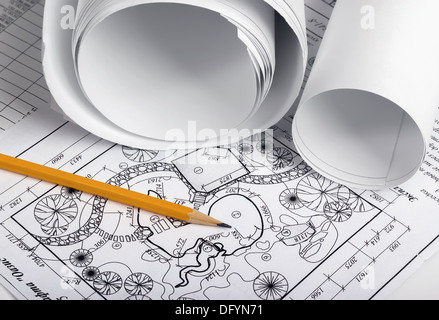 Rolls of drawings with elements of landscape design - Stock Photo