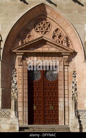 Principal Door in The West Face of Burgos Cathedral, Burgos, Castilla y Leon. Spain - Stock Photo