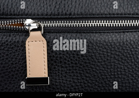 Close up of leather bag zipper - Stock Photo
