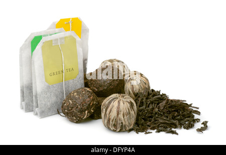 Various kinds of tea isolated on white - Stock Photo